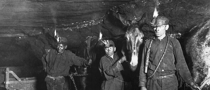 photo of coal miners and a donkey