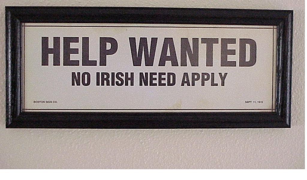 help wanted no irish sign