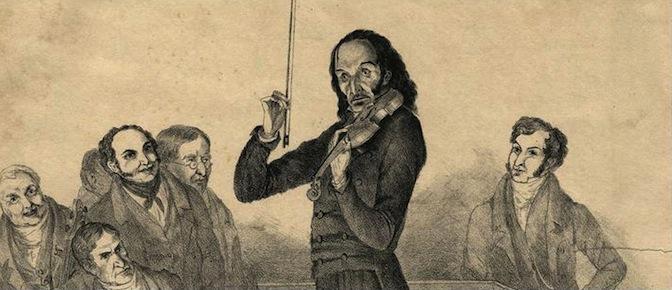 drawing of paganini playing violin