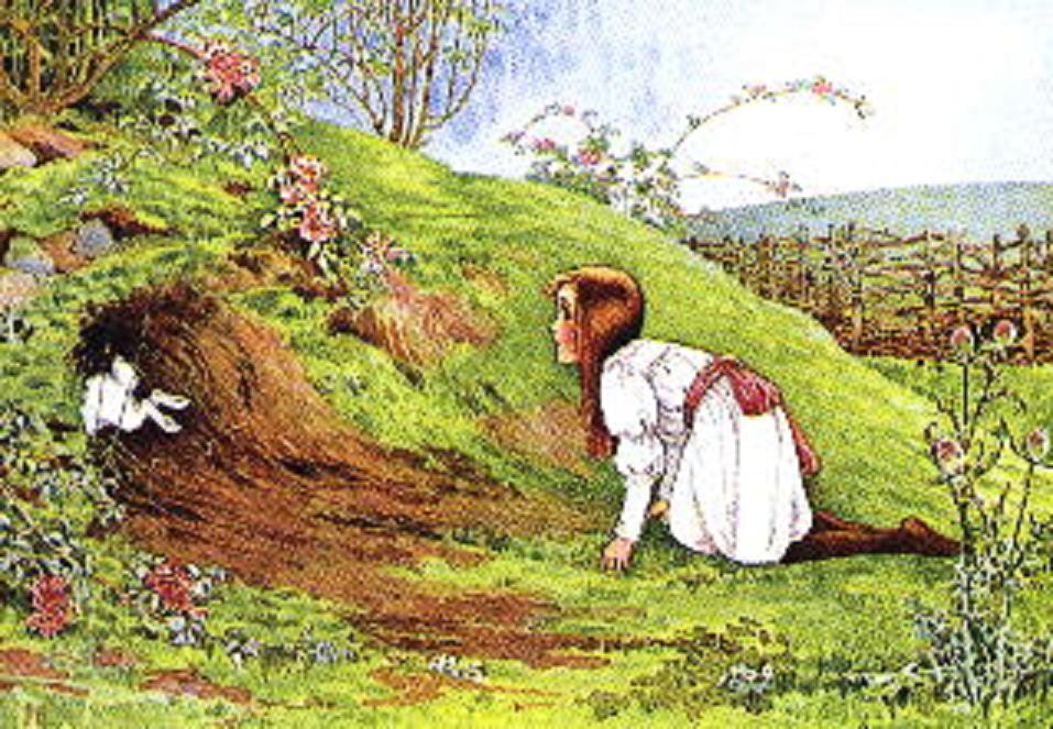 picture of alice looking down the rabbit hole
