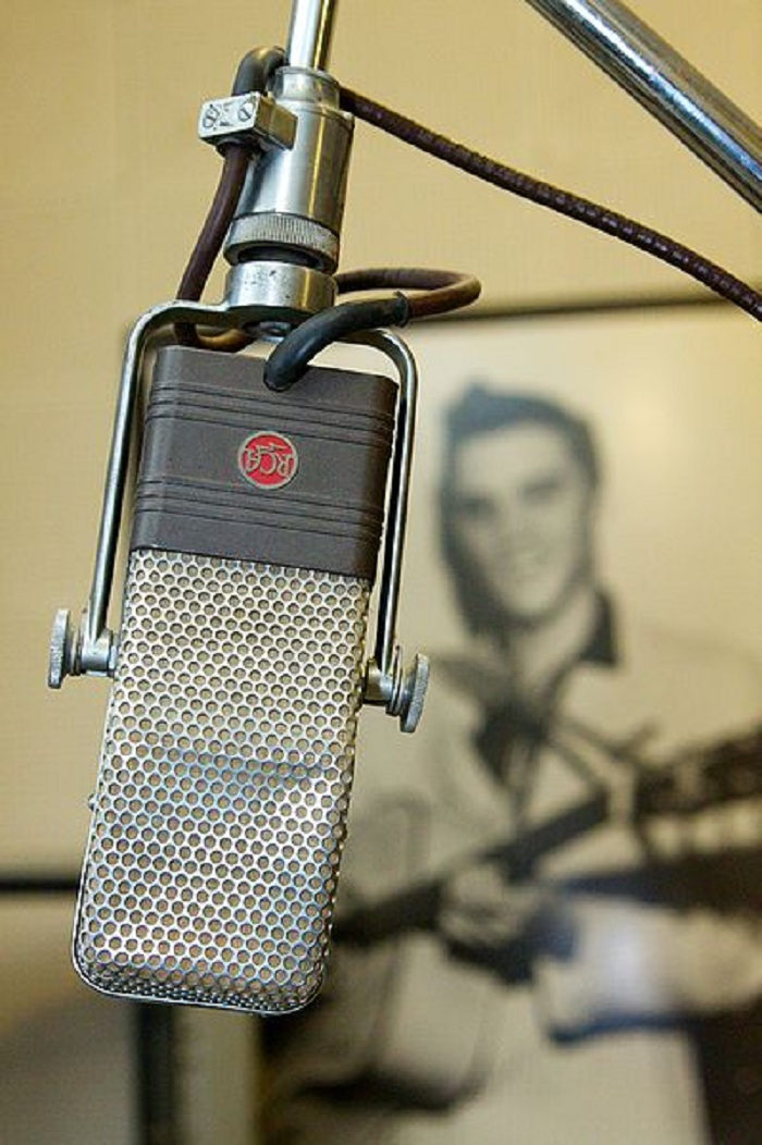 photo of microphone with elvis poster in background