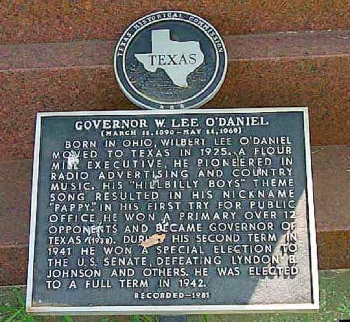 plaque for Governor W. Lee O'Daniel
