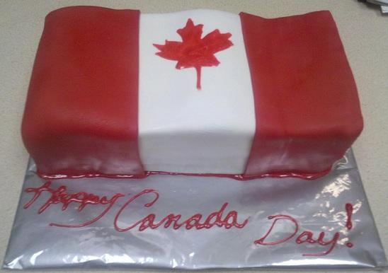 cake decorated like Canadian flag