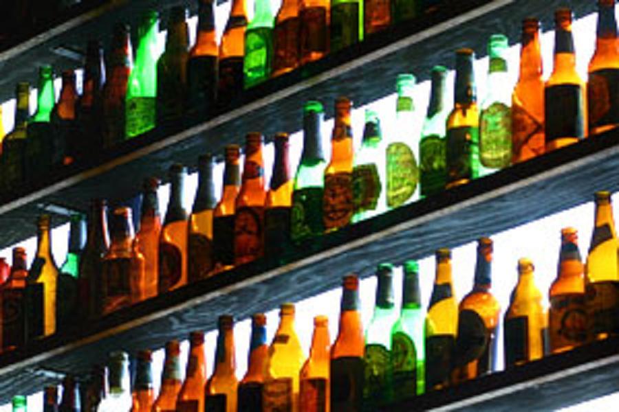 shelves of beer bottles