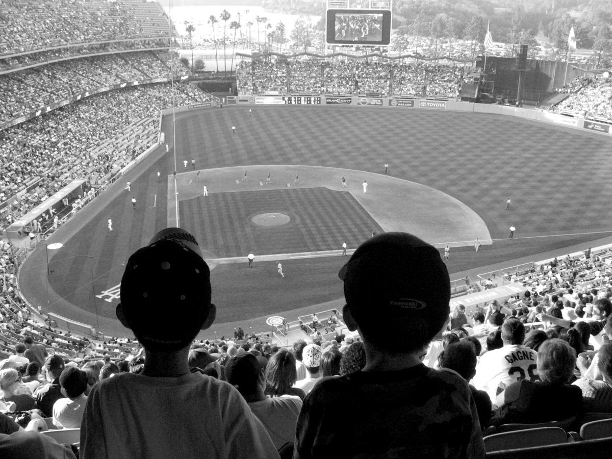 photo of crowd at baseball field