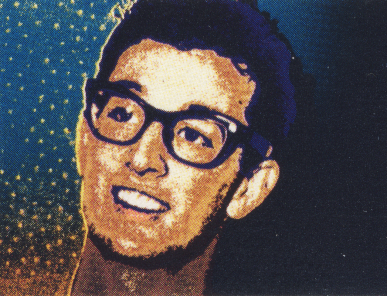 stamp with buddy holly on it