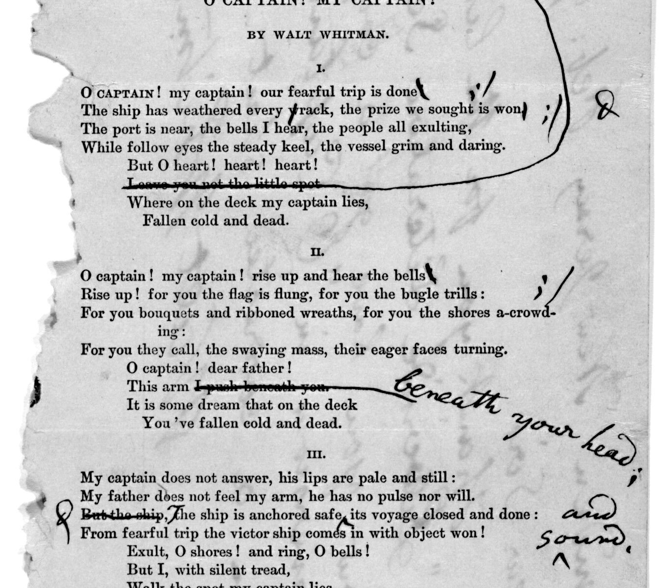 scan of Letter_and_corrected_reprint_of_Walt_Whitman's_O_Captain