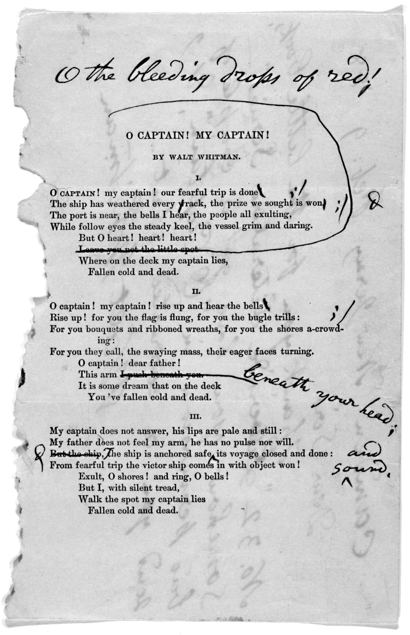 an overview of the walt whitmans poem oh captain my captain Walt whitman was born on may 31, 1819, in west hills, new york, the second son of walter whitman, a housebuilder, and louisa van velsor the family, which consisted of nine children, lived in brooklyn and long island in the 1820s and 1830s.